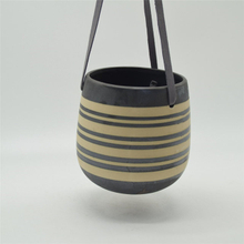Home Furnishing decoration Leather Sling Suspension Type Ceramic Flowerpot