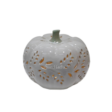 White Ceramic Pumpkins Shape LED Lantern Ceramic Pumpkin Hollowed-out Lantern Ceramic Pumpkins Decorations