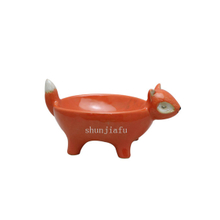 Orange Red Four Leg Ceramic Fox Bowl