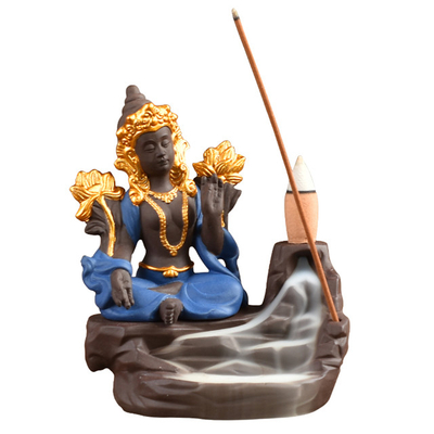 Home Furnishing Decorate Ceramic Statue blue Goddess Ceramic Backflow Incense Burner